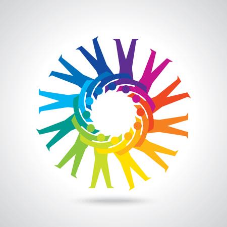 Illustration pour Teamwork People, Holding hands. Design for teamwork concept illustration - image libre de droit