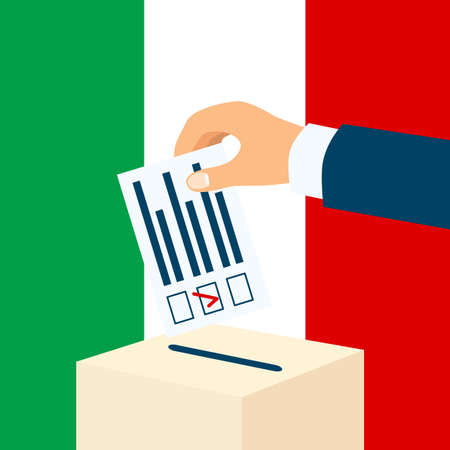 Illustration pour Election in Italy. Male hand putting voting paper in a ballot box with italian flag on a background - image libre de droit