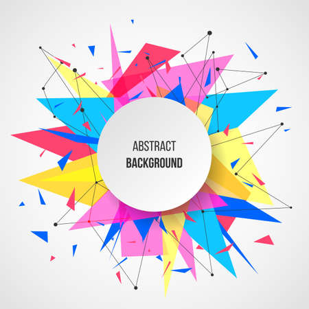 Ilustración de Abstract background template. Paper geometric polygon and triangle shapes explosion - Imagen libre de derechos