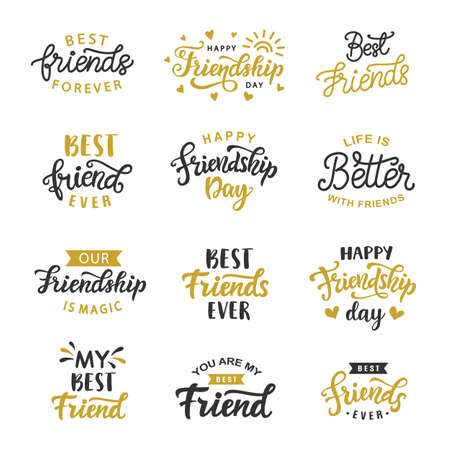 Illustration pour Happy Friendship Day cute hand written lettering big set illustration. - image libre de droit