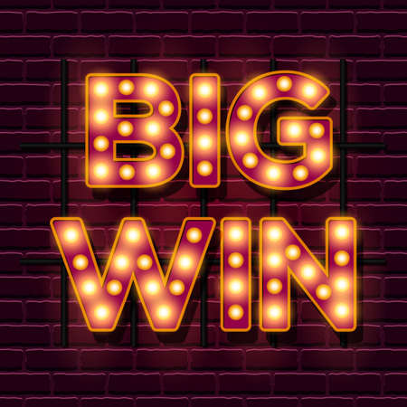 Ilustración de Big Win retro banner template with lightbulb glowing - Imagen libre de derechos