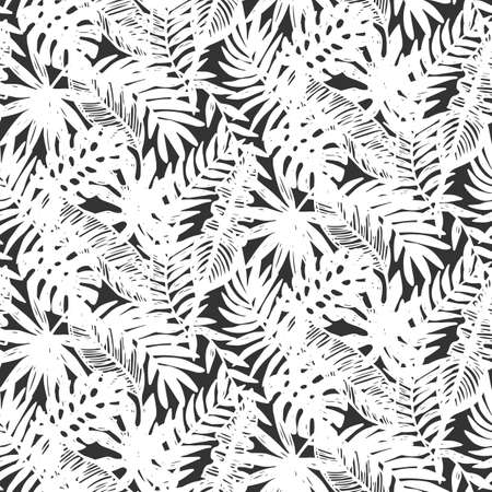 Illustration pour Tropical leaves seamless pattern - image libre de droit