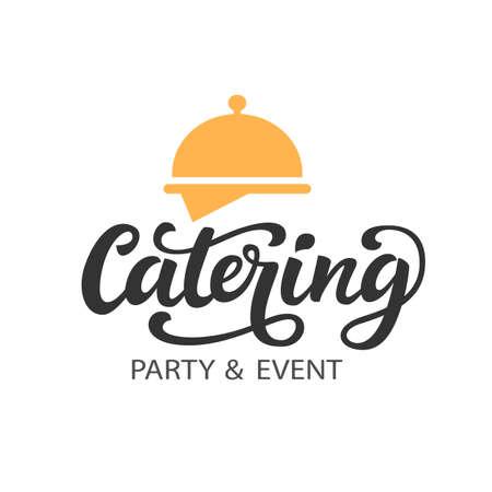 Ilustración de Catering vector logo badge with hand written modern calligraphy - Imagen libre de derechos