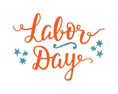 Illustration pour Labor day unique poster with handwritten lettering and holiday decoration elements. Typography placard, flyer, banner, greeting card design. Vector illustration - image libre de droit