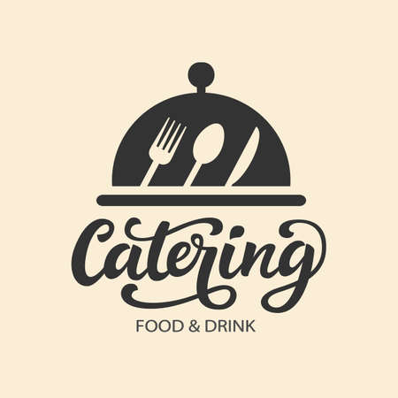 Illustration pour Catering vector logo badge with hand written modern calligraphy - image libre de droit