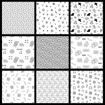 Ilustración de Retro memphis seamless patterns. 80-90s fashion style - Imagen libre de derechos
