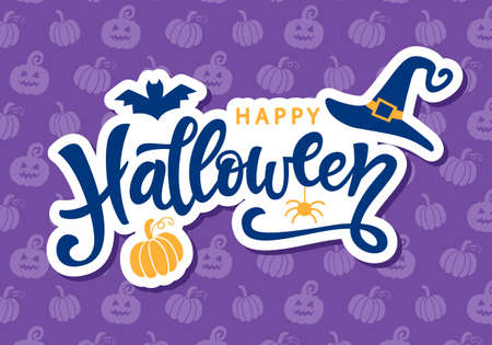 Illustration for Happy Halloween Handwritten Lettering - Royalty Free Image