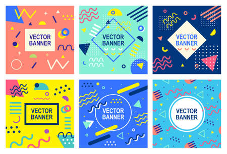 Ilustración de Memphis style banner templates collection. 80-90s trendy fashion background with geometric shapes. Vector illustration. Poster, invitation, greeting card, cover design. - Imagen libre de derechos