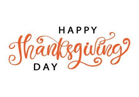 Illustration for Thanksgiving Day lettering for greeting cards - Royalty Free Image