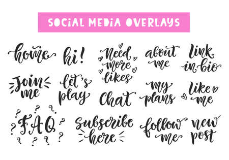 Ilustración de Social Media hand written trendy lettering collection. - Imagen libre de derechos