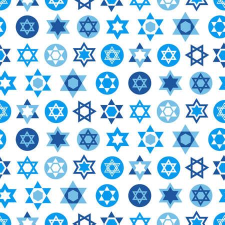 Ilustración de Blue Star of David symbols collection for textile, wallpaper, web page background. - Imagen libre de derechos
