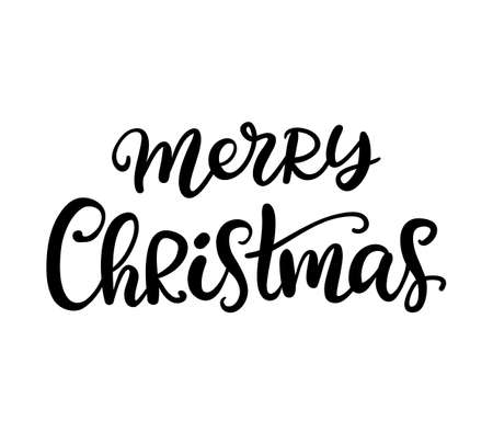 Illustration for Merry Christmas brush calligraphy - Royalty Free Image
