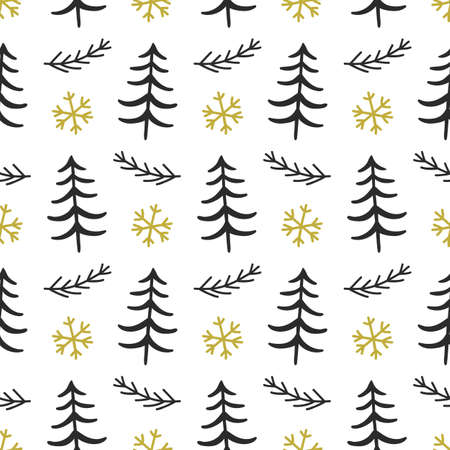 Illustration for Scandinavian Forest trees nordic seamless pattern - Royalty Free Image