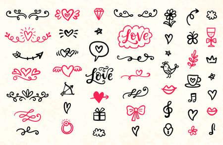 Illustration pour Set of Valentines Day hand drawn doodles icons - image libre de droit