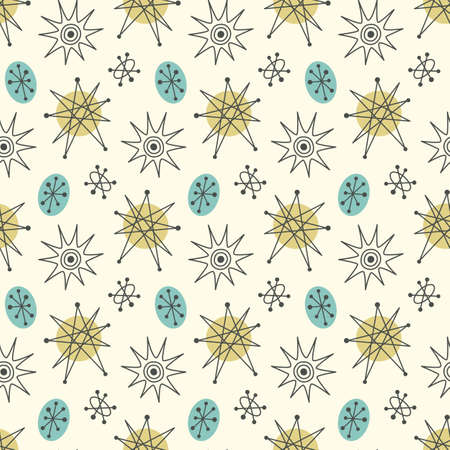 Illustration pour Mid century modern seamless pattern, stars in repetitive illustration. - image libre de droit