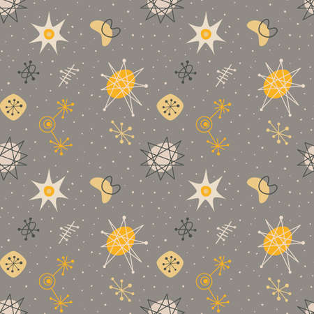 Illustration pour Mid century modern seamless pattern, galaxy elements repetitive illustration. - image libre de droit
