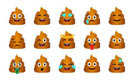 Illustration pour Cartoon Poop Emoticons Set. Happy and sad shit characters icons - image libre de droit