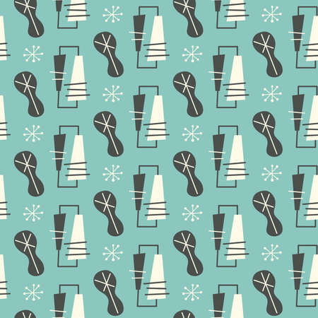 Illustration for Mid century modern seamless pattern Vector illustration. - Royalty Free Image