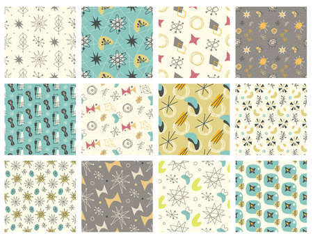Illustration pour Set of Mid century modern seamless pattern - image libre de droit