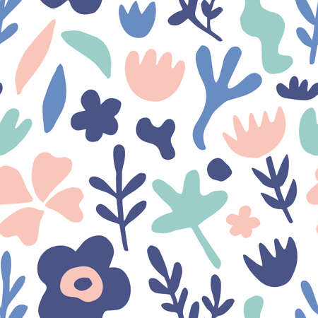 Illustration pour Hand drawn floral seamless repeat pattern - image libre de droit