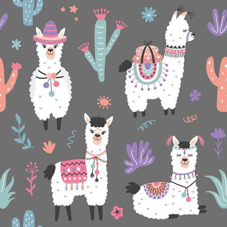 Illustration pour Cartoon Llama Alpaca Seamless Pattern - image libre de droit
