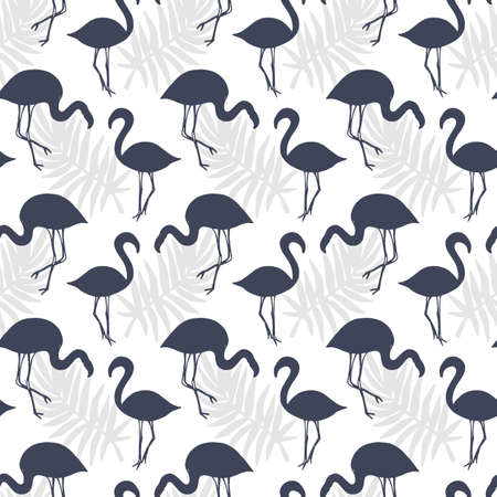 Illustration pour Flamingo Birds Seamless pattern. Tropical Background. Vector illustration - image libre de droit