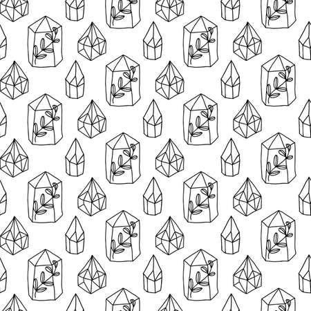 Illustration for Crystals Gem Magic seamless pattern. Diamonds vector background. Magical fairytale elements. - Royalty Free Image