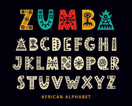 Illustration for Vector Hand drawn African Tribal Font. Folk Scandinavian Script. English Ethnic Alphabet. Decorative ABC Letters Set. Typeface Design. - Royalty Free Image