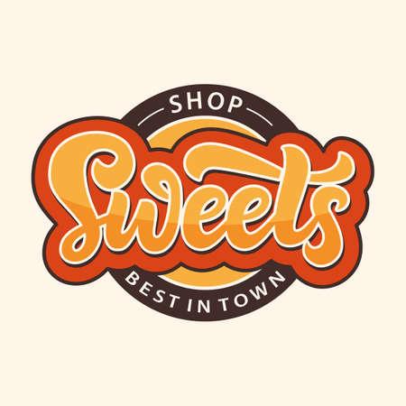 Illustration pour Sweets Shop logo label. Candy bar emblem design template - image libre de droit
