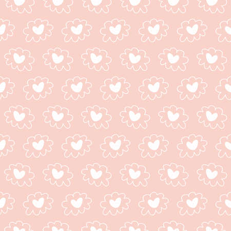 Illustration for Vector hand drawn hearts seamless pattern. Abstract repeated doodle sketch background. Valentines day, wedding design. Girlish romantic textile, clothes, wrapping paper, invitation card. - Royalty Free Image