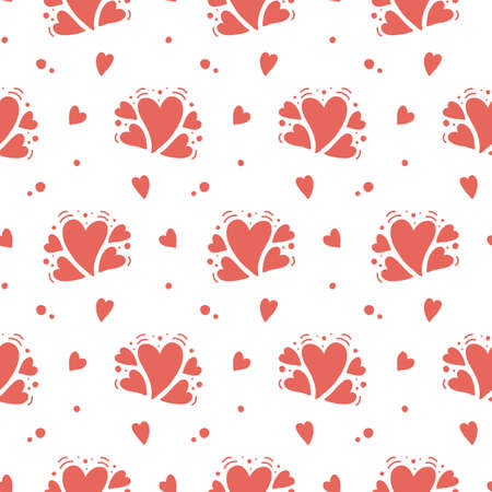Illustration for Vector hand drawn hearts seamless pattern. Abstract repeated doodle sketch background. Valentines day, wedding design. Girlish romantic textile, clothes, wrapping paper. Red on white - Royalty Free Image