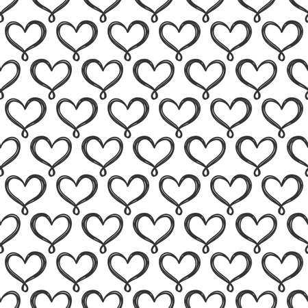 Illustration for Vector hand drawn hearts seamless pattern. Abstract repeated doodle sketch background. Valentines day, wedding design. Girlish romantic textile, clothes, wrapping paper. Black on white - Royalty Free Image