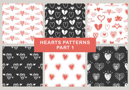 Illustration for Vector hand drawn hearts seamless patterns set. Abstract repeated doodle sketch background. Valentines day, wedding design. Girlish romantic textile, clothes, wrapping paper. Black and red. - Royalty Free Image