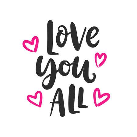 Illustration pour Love you all hand written lettering - image libre de droit