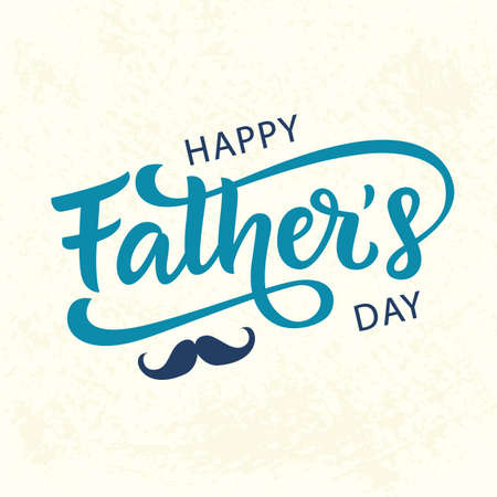 Ilustración de Happy Fathers Day greeting with hand written lettering. Cute typography design template for poster, banner, gift card, t shirt print, label, badge. Retro vintage style. Vector illustration - Imagen libre de derechos