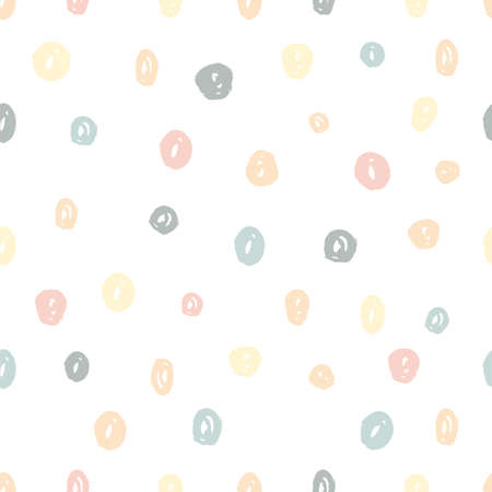 Ilustración de Hand painted brush dots seamless pattern texture in pastel colors. Abstract vector creative repeating background. Modern trendy design. - Imagen libre de derechos