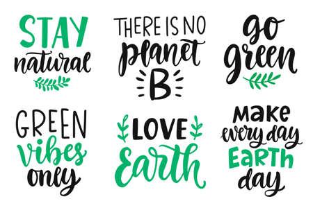 Ilustración de Earth day, Plastic Free, Recycle, Go Green, Save Energy concept quotes set - Imagen libre de derechos
