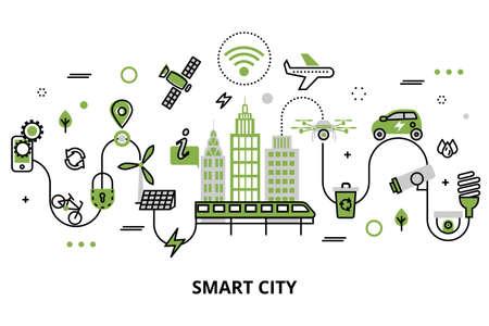 Foto de Modern flat line design, concept of smart city, technologies of future and urban innovations, for graphic and web design. - Imagen libre de derechos