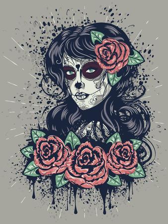 Illustration pour Vintage sugar skull girl with roses for Day of the Dead (Dia de los Muertos). - image libre de droit