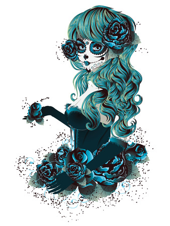 Illustration pour Vintage sugar skull girl with roses for Day of the Dead (Dia de los Muertos). - image libre de droit