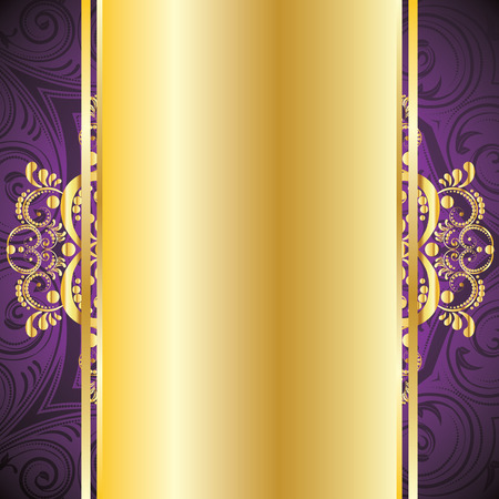 Illustration for Vintage pruple background with decorative gold ribbon and floral ornament. - Royalty Free Image