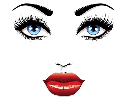 Illustration pour Eyes with long eyelashes and red lips, glamour portrait. - image libre de droit