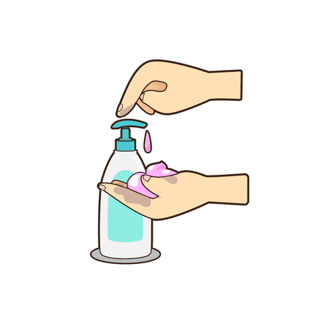 Ilustración de Vector of hand pressing bottle lotion or soap on white background. - Imagen libre de derechos