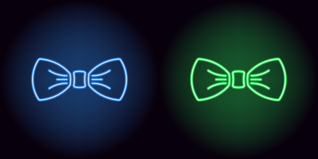 Illustration for Neon bow tie in blue and green color. Vector silhouette of neon bow knot consisting of outlines, with backlight on the dark background - Royalty Free Image