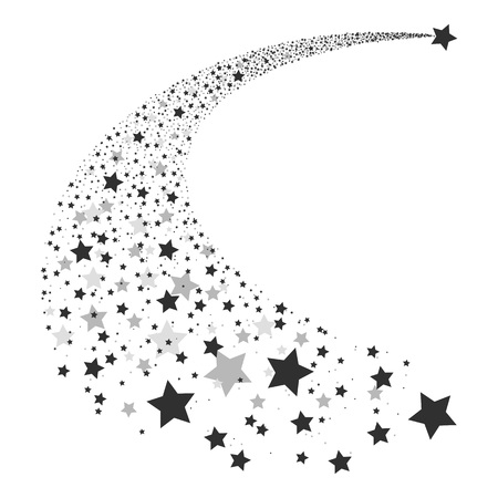 Ilustración de Vector illustration abstract Falling Star. Shooting Star with Elegant Star Trail on White Background - Meteoroid, Comet, Asteroid or Stars. Abstract background from stars. Comet tail from stars. - Imagen libre de derechos
