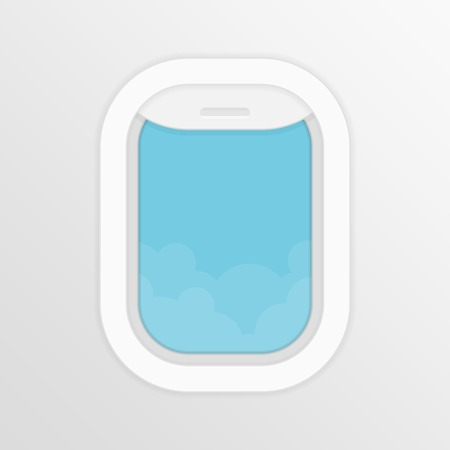 Illustration pour Aircraft,airplane windows with cloudy blue sky outside. Travel or tourism concept. Vector illustration in flat style. - image libre de droit