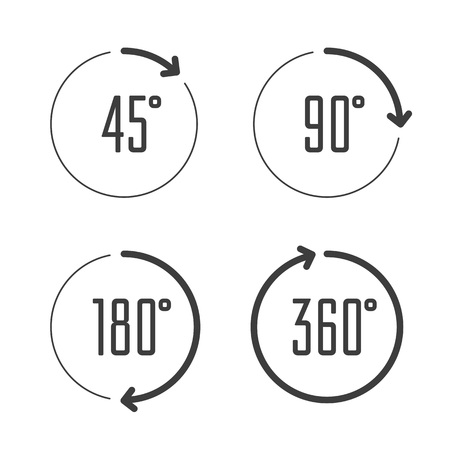 Illustration for Set of angles 45, 90, 180 and 360 degrees icons. Arrows rotation circle symbol set. Geometry math signs symbols. Full complete rotation arrow. - Royalty Free Image