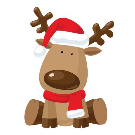 Ilustración de Reindeer child sitting in Christmas red hat with red scarf - Imagen libre de derechos