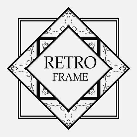 Illustration for Vintage retro style invitation in Art Deco. Art deco border and frame. Creative template in style of 1920s. Vector illustration. EPS 10 - Royalty Free Image