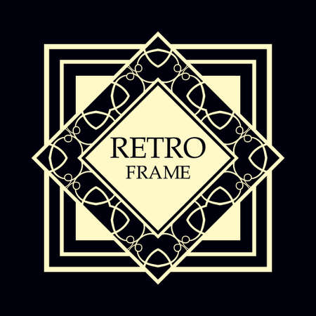 Illustration for Vector geometric frame in Art Deco style. Rectangle vector abstract element for design. - Royalty Free Image